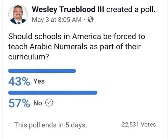 宅宅新闻   市调显示《美国人认为学校里不应该教「阿拉伯数字系统」》LVI/C的人表示反对