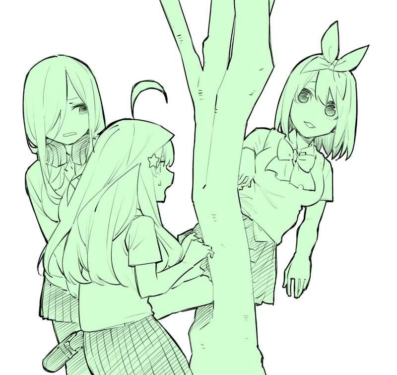 《被树夹住的豹》五等分的新娘作者跟上恶搞 姊妹们跟猎豹简直一模一样~~