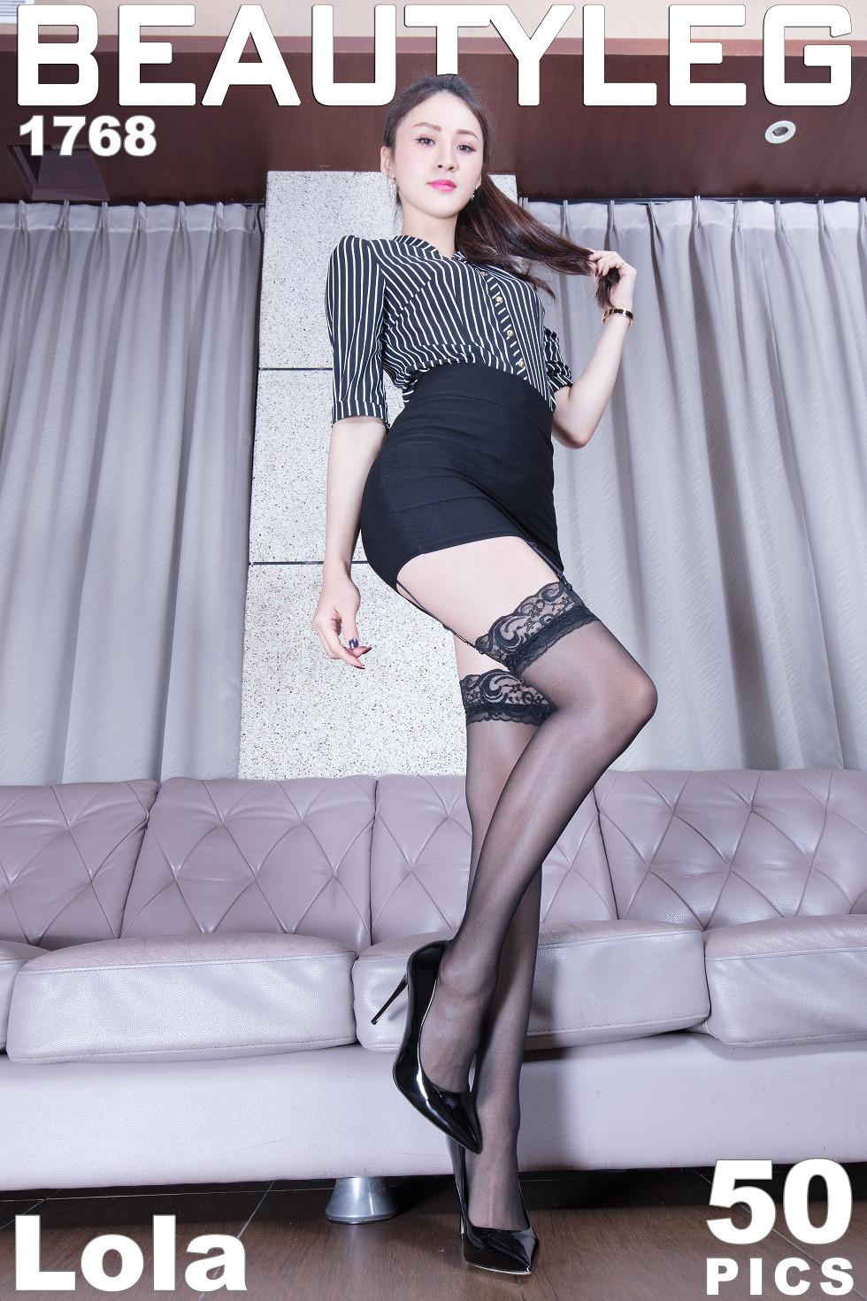 模特Lola妹子格子衬衣配吊带黑丝袜秀完美身材迷人诱惑无圣光写真45P