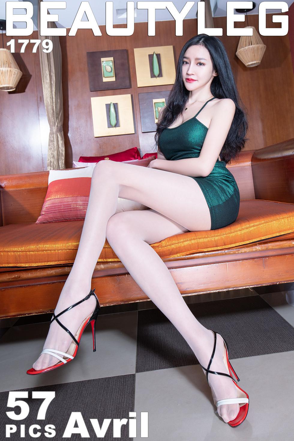 模特Avril妹子绿色吊带连身裙配肉丝裤袜秀完美身材诱惑无圣光写真48P